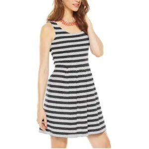 ELLE Striped Eyelet Fit and Flare Midi Dress
